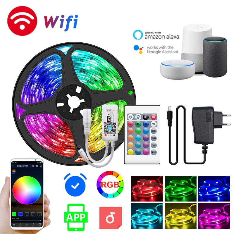 5-30M Led Strip 5050 Rgb Flexible Led Background Tape Lights 12V Bluetooth Wifi Remote Control Lamp