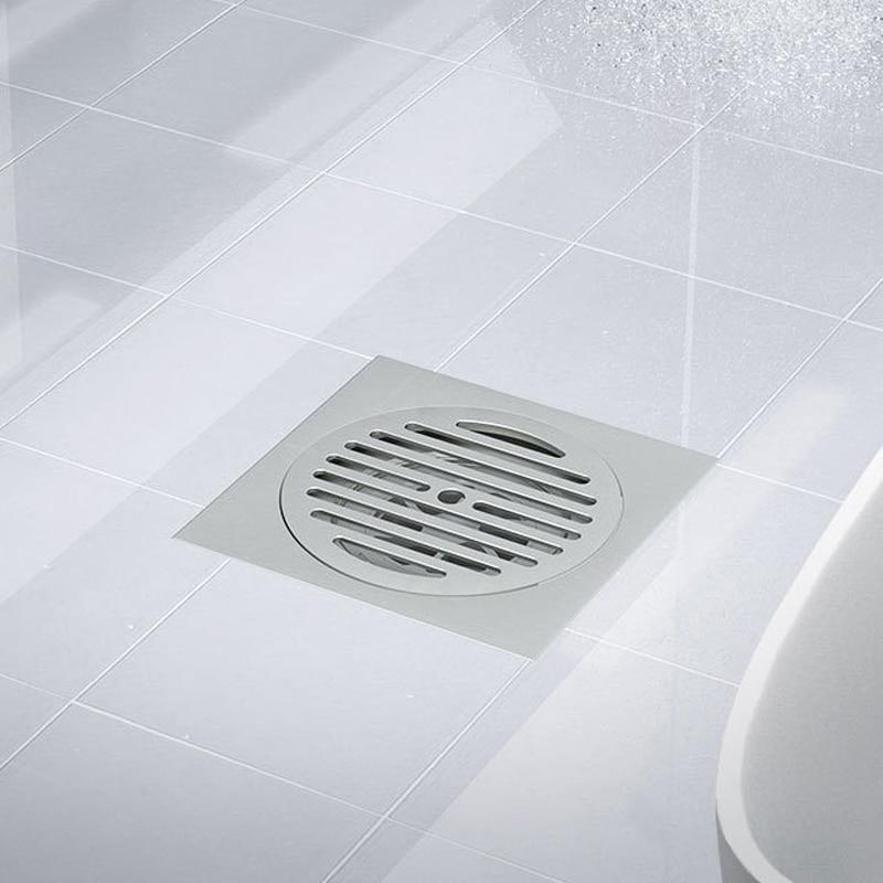 قدم الطابق استنزاف النحاس الكروم مكافحة رائحة حمام المصارف دفع أسفل إزالة الروائح الكريهة مربع ماتي غطاء غرفة الاستحمام التوصيل 15*15 سنتيمتر