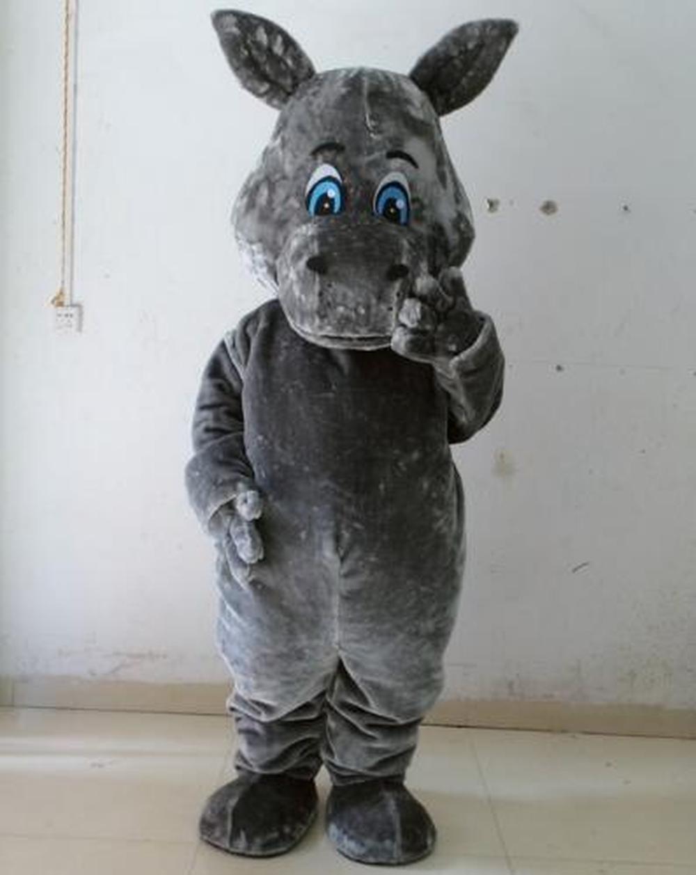 Disfraz de Mascota de hipopótamo gris de cabeza grande para adultos disfraz de disfraces de Halloween desfile