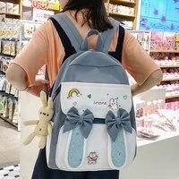 est 2021 kawaii rabbit ears women backpack bow cute school bag for girls patchwork large capacity book bag female travel mochila