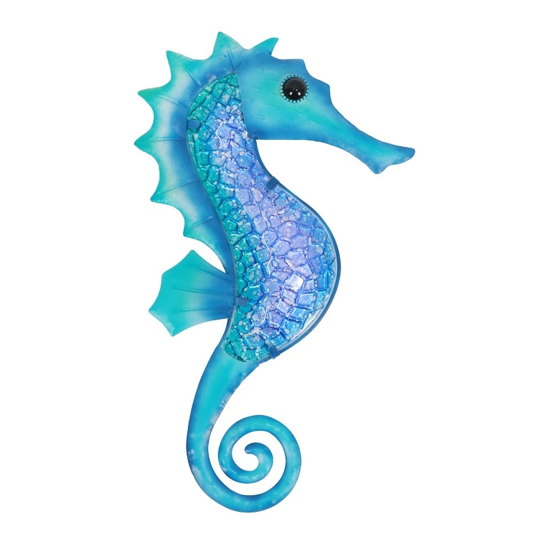 Metal Blue Seahorse for Garden Decoration Outdoor Sculpture and Miniature Statues Ornaments Animal Jardin