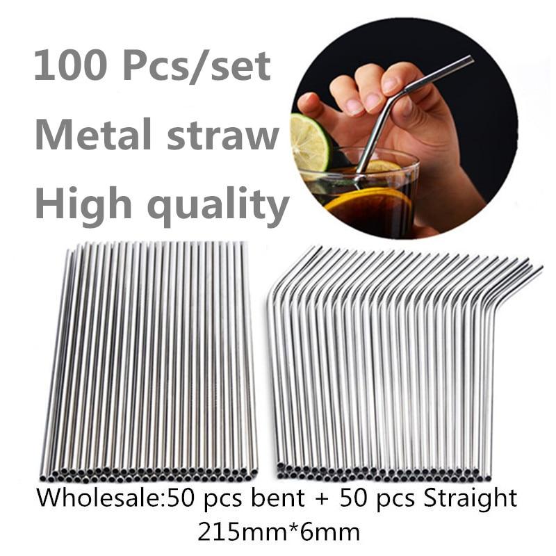 100 unids/set pajilla de Metal reutilizable al por mayor tubos para beber de acero inoxidable 215mm * 6mm pajillas rectas ecológicas dobladas para cerveza
