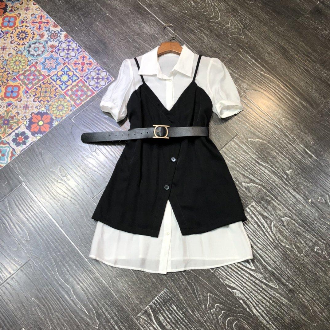 2020 New Elegant Black and White Color Matching Strap Vest Suit 0622