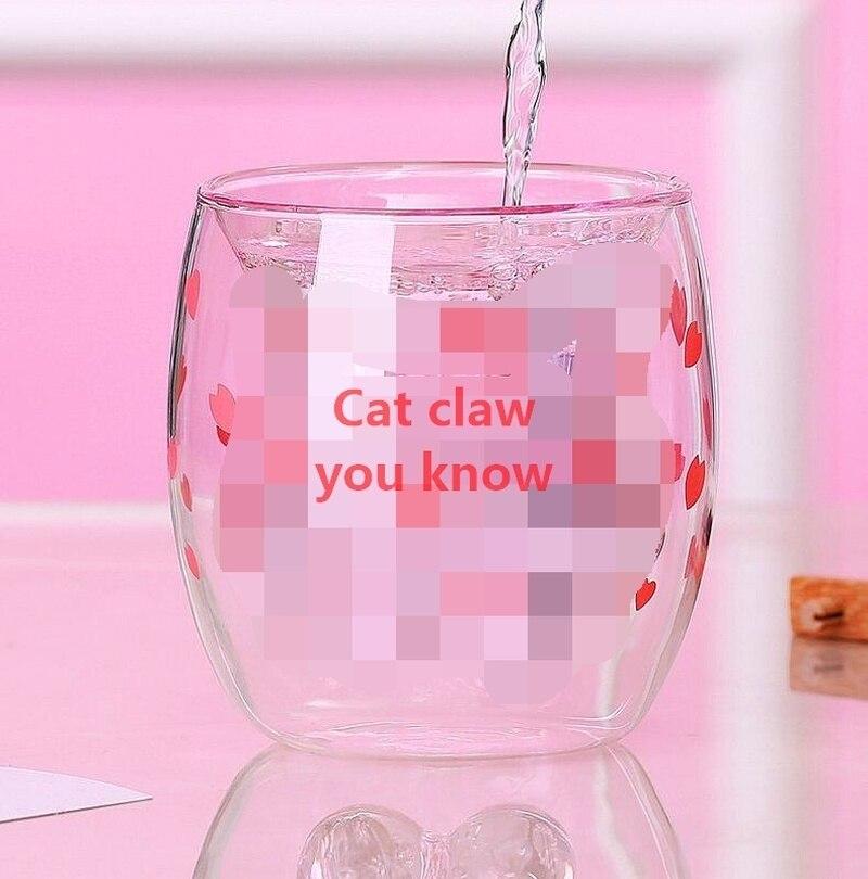 Nueva taza de pata de gato con taza de café Taza de leche taza de cerveza cereza Rosa transparente doble taza de Pata de Gato
