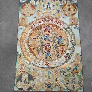 Thangka Embroidery Painting Brocade Hanging Canvas Painting Religious Buddha Statue Baifu Exorcism Figure