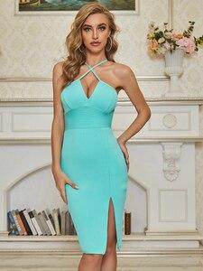 Sexy V Neck Key Hole Split Blue Bodycon Women Summer Bandage Dress 2020 Designer Elegant Evening Party Dress Vestido