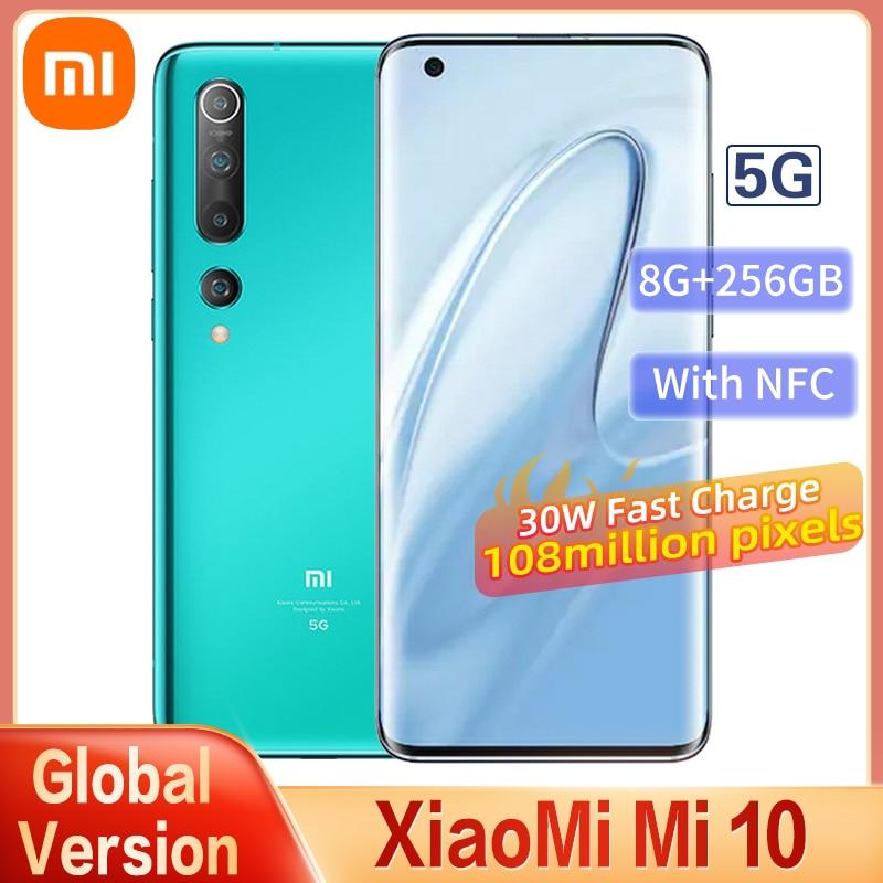 Global Version Xiaomi Mi 10 5G Smartphone 8GB+256GB Snapdragon 865 Octa Core 100 Million Pixels NFC 90HZ AMOLED Curved Screen
