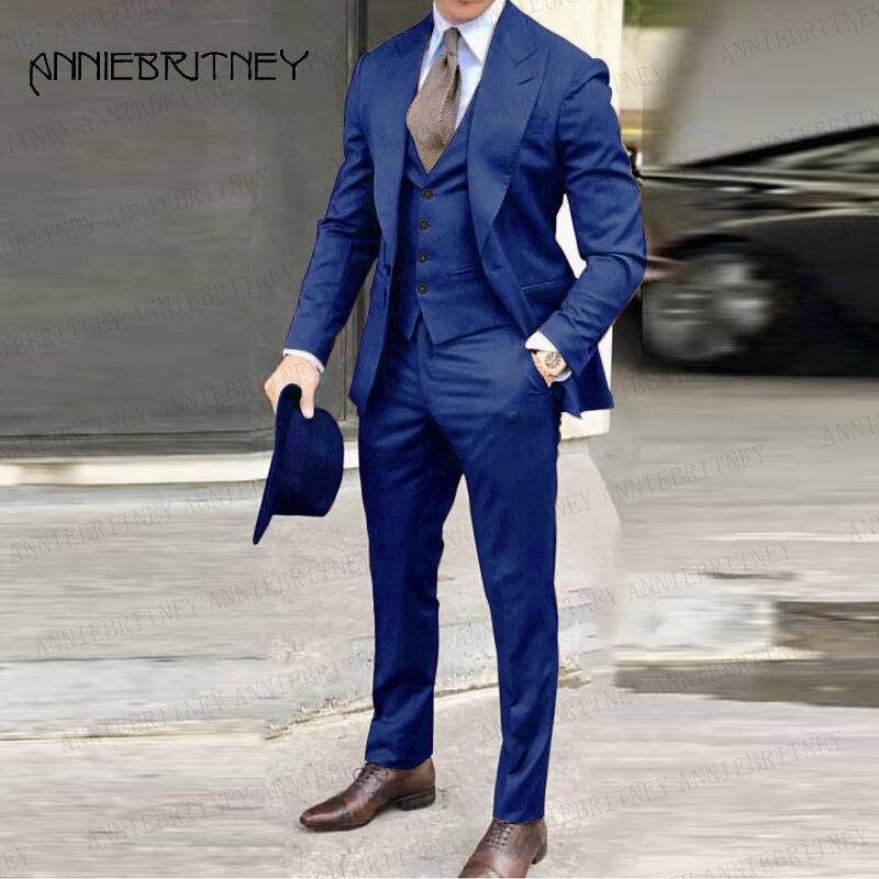 الأزرق رجالي البدلة 3 قطع حفلة موسيقية بدل زفاف للرجال سهرة سليم صالح الزواج زي للعريس حجم كبير سترة سترة السراويل