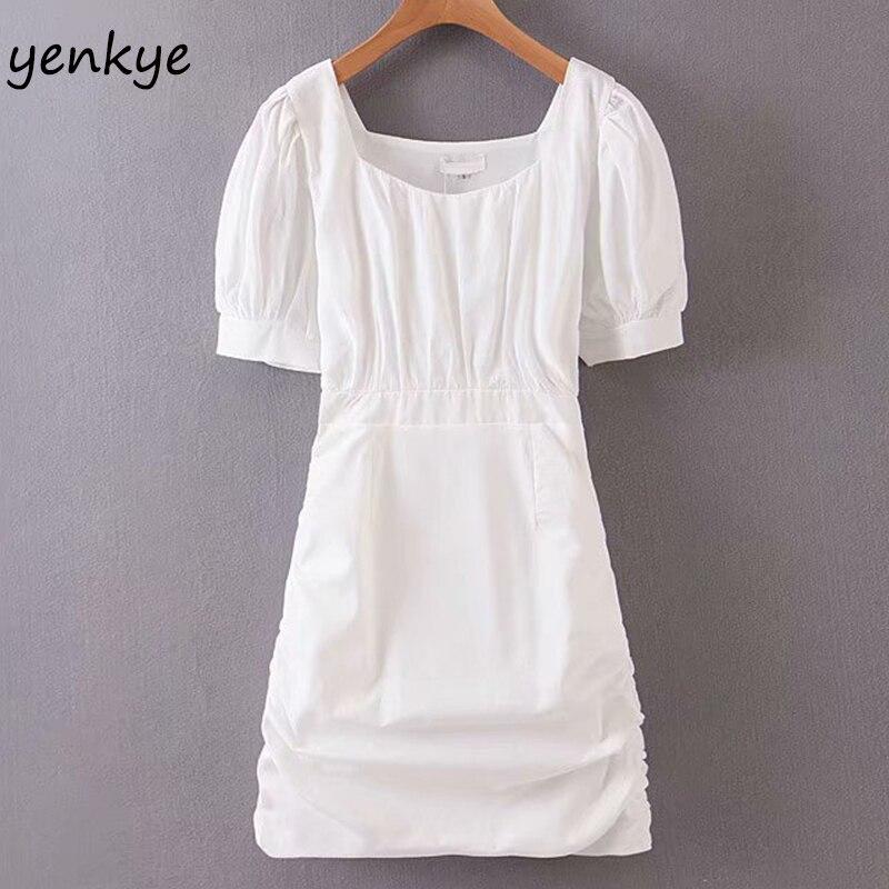 Elegante feminino branco drawstring drapeado bodycon vestido feminino quadrado pescoço manga curta verão mini vestido sexy sdp9251