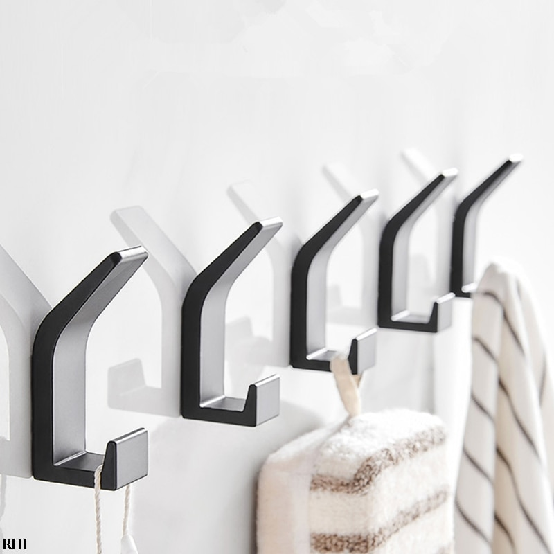 1pc Punch-free Self-adhesive Double Hook Black White Towel Hook For Kitchen Bathroom Hat Towel Hook Wall Hanger t 5912 stylish 1 4 lcd hook wall telephone w caller id display silver black white