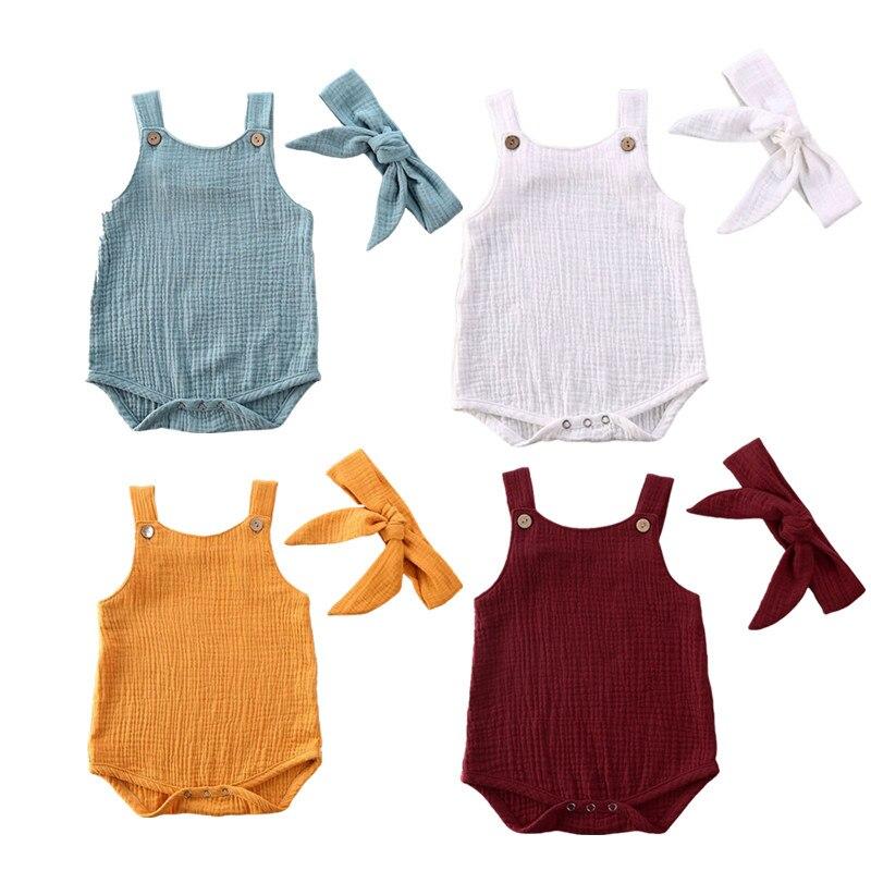 Citgeett verão sólido 0-24m infantil crianças conjunto de roupas bebê menina sem mangas bodysuits macacão playsuit outfit