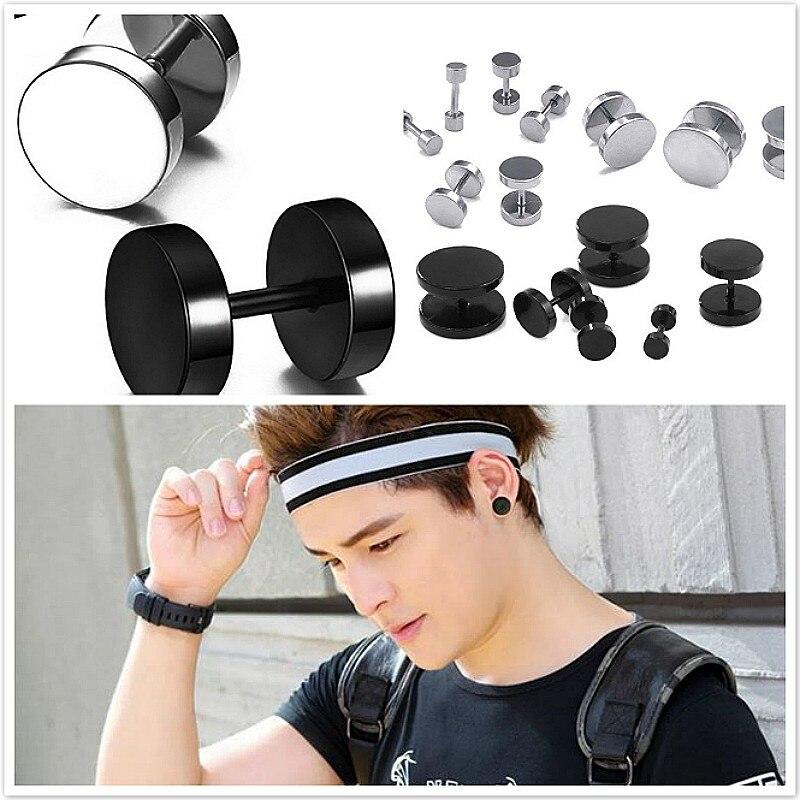 Pendientes Fanatical de acero de titanio negro con Clip, pendientes de Hip Hop Rock, redondas mancuernas, pendientes hipoalergénicos para hombres y mujeres, 2019