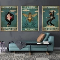 retro poster lose your mind find your soul inspirational quote art prints abstract girl canvas painting vintage wall home decor