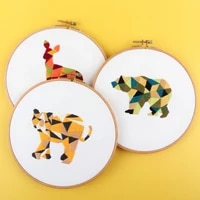 diy embroidery kit needlework tools for beginners animal pattern embroidery round cross stitch kit sewing craft set decoration
