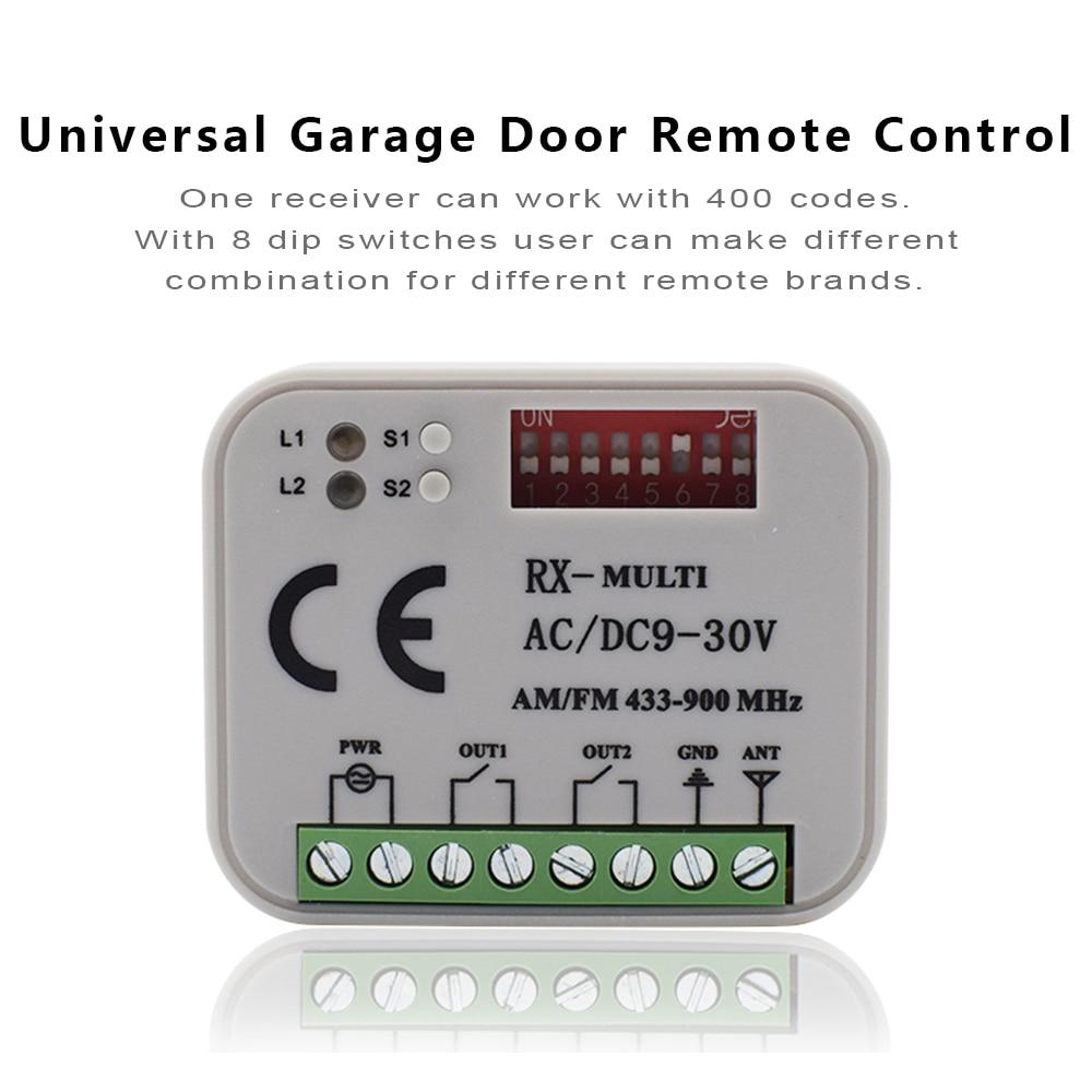 RX мульти 300-900MHz ворота гаража двери универсальный пульт дистанционного управления приемник 2 канала AC DC 9-30V приемник