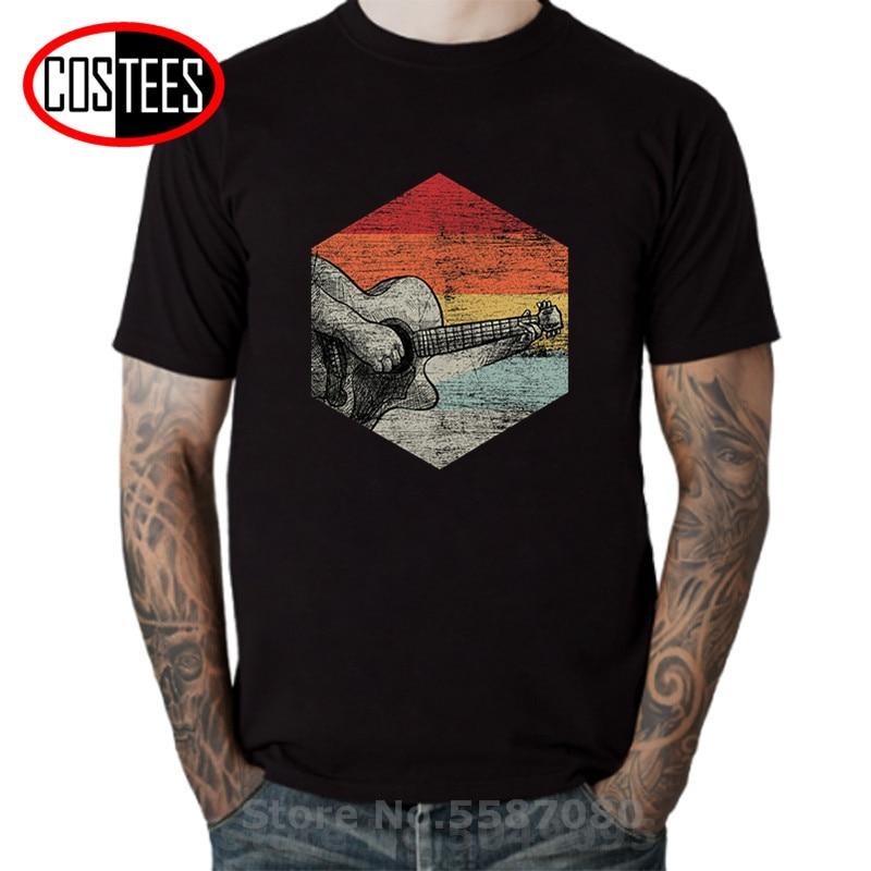 Retro guitarra acústica Premium camiseta hombres Vintage bajo guitarra camisetas hombre guitarrista...