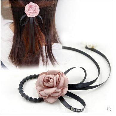 Women's simple head rope small fresh flowers rhinestone hair ties tie hair without seams rubber band hair accessories hair ties
