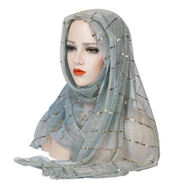 Мусульманский женский хиджаб головные уборы шарф с пайетками Ислам ic платок турецкий Ислам тюрбан бандана, Женский хиджаб Мусульманская одежда      АлиЭкспресс