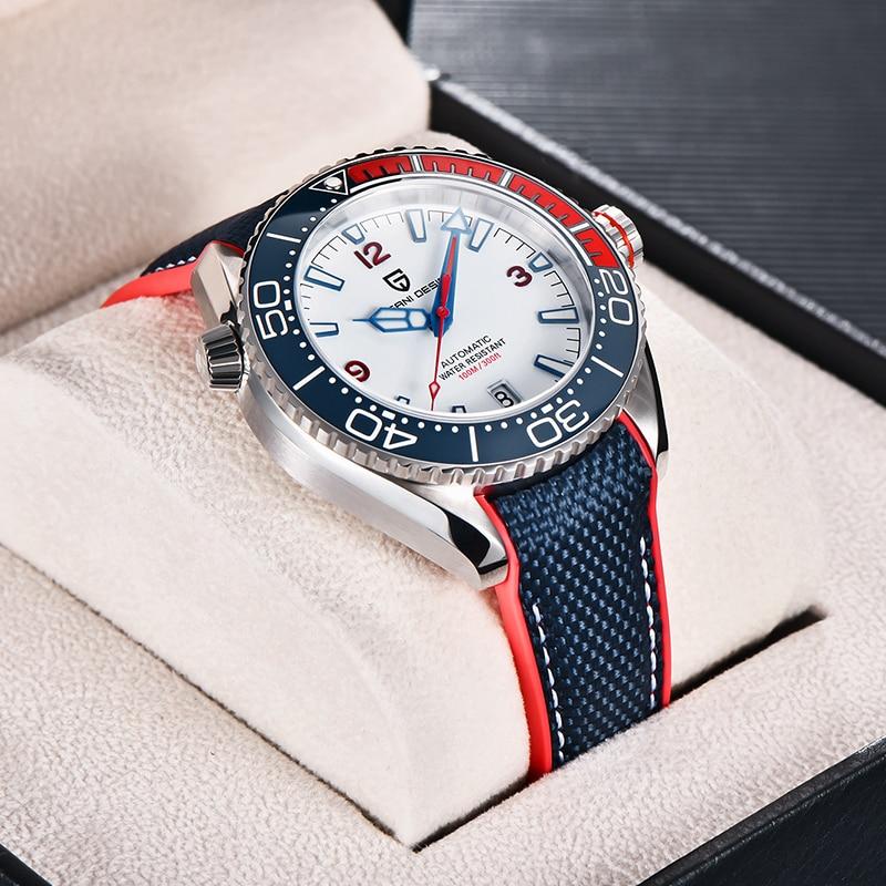 Automático de Luxo 100m à Prova Nova Moldura Cerâmica Relógio Vidro Safira Mecânico Aço Inoxidável Dwaterproof Água