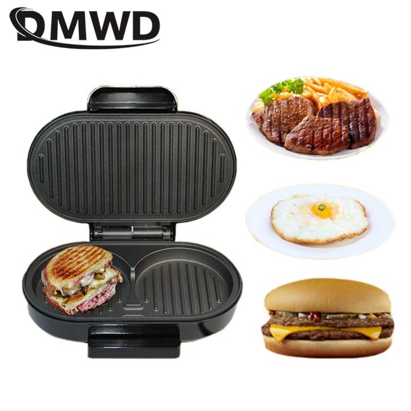DMWD-ماكينة ساندويتش بانيني صغيرة للمنزل ، 220 فولت ، شواية كهربائية ، همبرغر ، شريحة لحم ، مقلاة ، موقد بيض ، 750 واط