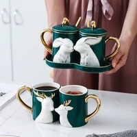 2pcsset nordic mug couple pair cup creative spoon with lid ceramic love cup tray lid valentine day wedding gift box milk mugs