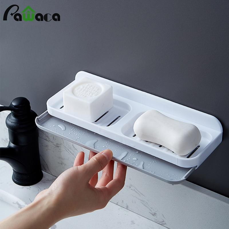 Doble rejilla cajón Diseño montado en la pared jabonera doble drenaje jabonera baño ducha jabonera bandeja estante de almacenamiento