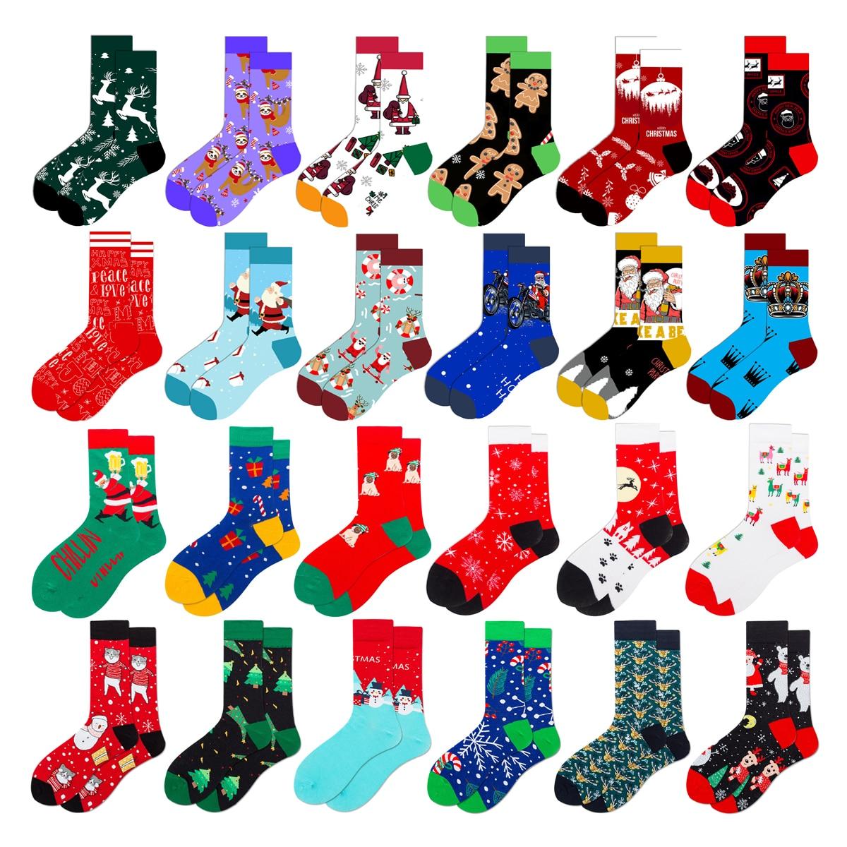Novelty Fashion Colourful Kawaii Casual Men Women Christmas Socks Harajuku Cute Funny Cotton Snow Elk Socks Christmas Tree Gifts недорого