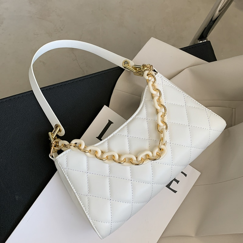 brand 2019 hot genuine leather bag zooler soft real leather ladies hand bags tote bag luxury shoulder bags bolso mujer 10105 Luxury Designer Women's Shoulder Bag PU Leather Acryilc Chain Ladies Underarm Bags Female Plaid Armpit Bag Handbags Bolso Mujer