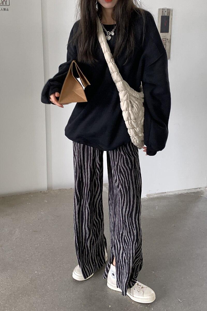 Брюки с узором зебры, корейский вариант, прямые широкие брюки с открытой вилкой, женские подвесные брюки с высокой талией