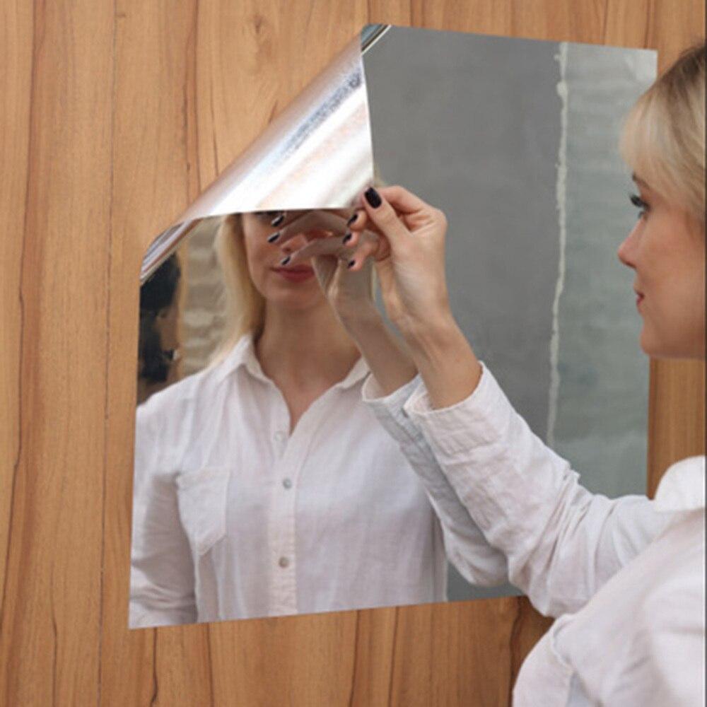 Autocollant mural miroir argenté réfléchissant   Étiquette Rectangle, 50x100cm, Film solaire auto-adhésif, décorations murales pour maison dart