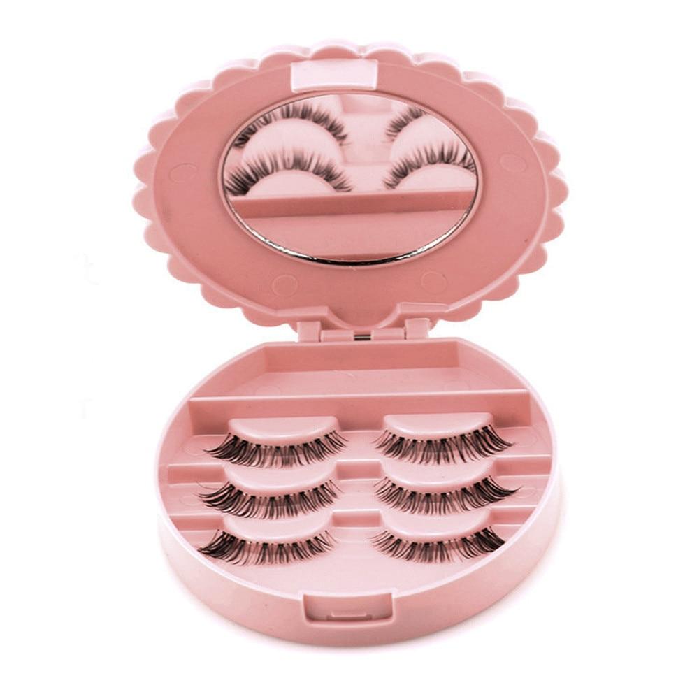 1 unidad de plástico en forma de flor estuche de almacenamiento de pestañas postizas maquillaje cosmético sin espejo estuche organizador Bowknot herramienta de cosméticos de moda