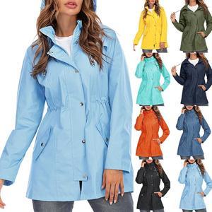 2021 New Women's Lightweight Raincoat for Women Waterproof Jacket Hooded Outdoor Hiking Jacket Long Rain Jackets Active Rainwear