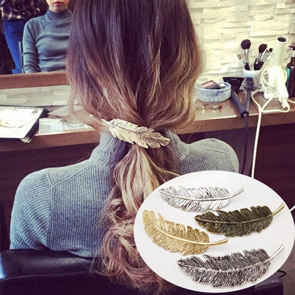 Modernos y grandes asas en forma de pluma para el pelo, pasador francés chapado en oro y plata, horquillas para el pelo para mujer, accesorios para el cabello, Pinza de pel