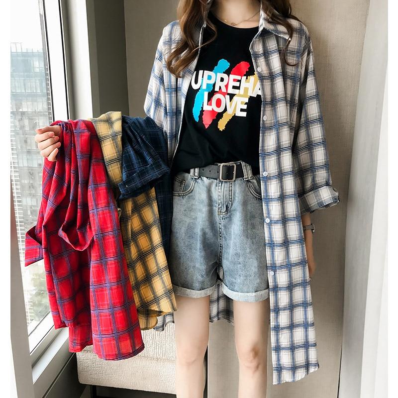 Женская клетчатая блузка с длинным рукавом, тонкая Солнцезащитная длинная юбка, Blusas mujer de moda 2020, рубашка, топы для женщин размера плюс