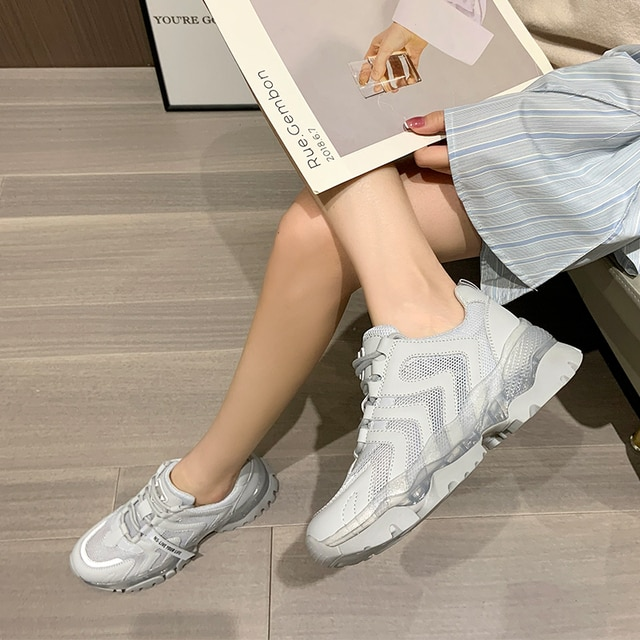 AIYUQI Women's Sneakers 2021 Summer New Single Mesh Platform Casual Shoes Ladies Korean Student Shoes Girl 6