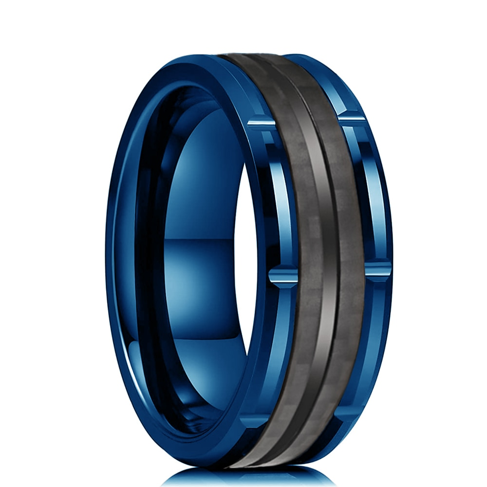 Classic Men's 8mm Double Groove Beveled Edge Blue Tungsten Wedding Rings Brick Pattern Brushed Black Carbon Fibre Ring For Men