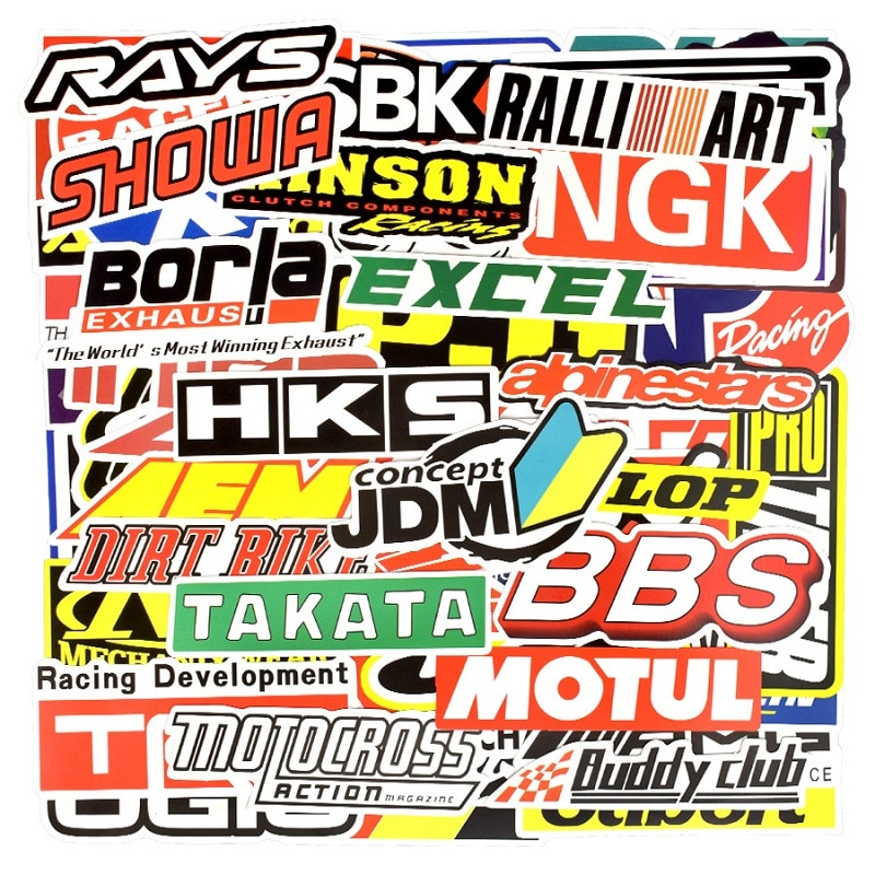 100 PCS Graffiti JDM Racing Car Modification Waterproof Sticker Motorcycle Bicycle Helmet Motor Suitcase Laptop Trolley Stickers