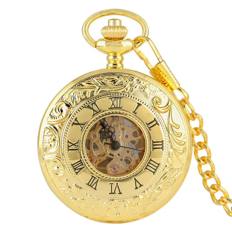 Luxury Yellow Gold Antique Hand Winding Mechanical Skeleton Pocket Watch Double Open Hunter Pendant Chain Hour Clock Gift Reloj