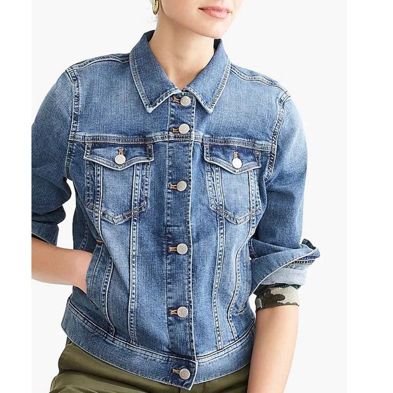 Chaqueta corta de mezclilla de algodón azul de talla grande para mujer, abrigo informal de manga larga para otoño 2020