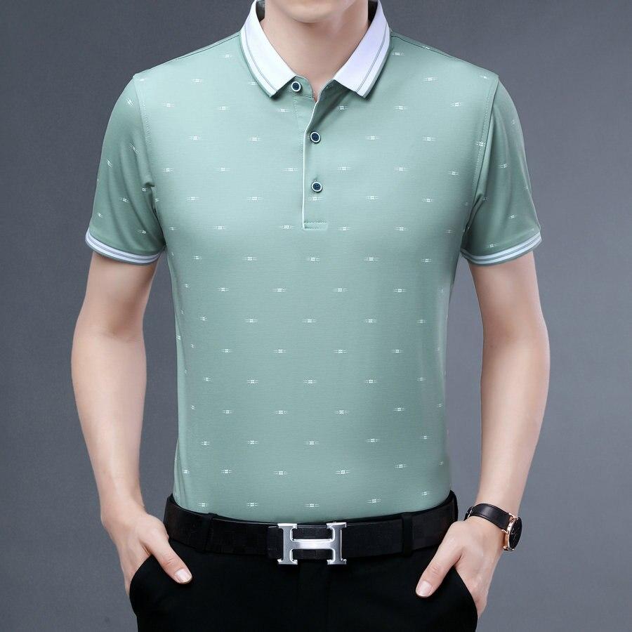 Verde Azul Pequeno Impressão Polo Camisa Masculina Verão Turn Down Collar Manga Curta Topo Masculino Inteligente Negócio Roupas Casuais