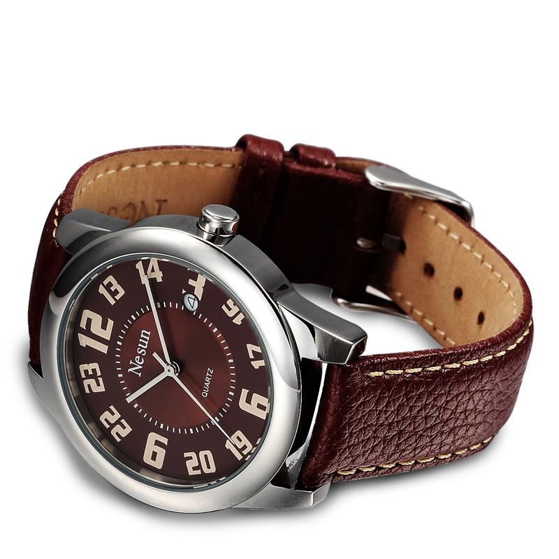 Marca de Luxo Couro à Prova Novos Relógios Femininos Nesun Suíça Japão Quartzo Relógio Feminino Diamante Pulseiras Pulseira Dnágua N8031