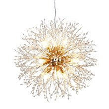Modern Dandelion Led Stainless Steel Crystal Pendant Light Crystal Bead Atmosphere Chandeliers  Luxury For Lving Dining Room