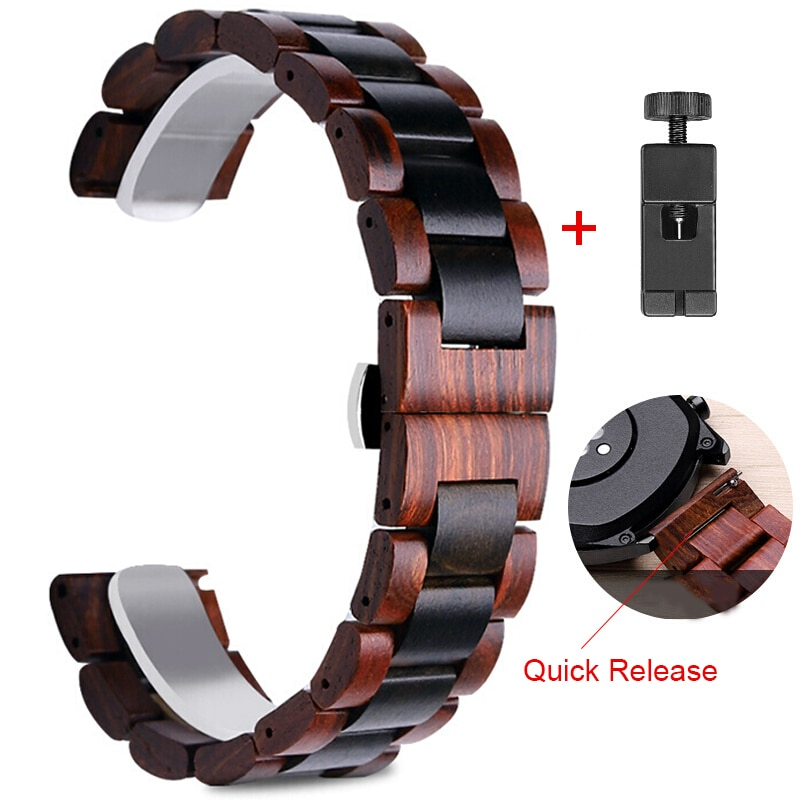 20mm 22mm Wood Watch Band for Huawei Watch GT Stainless Steel Strap Replacement Bracelet for Galaxy