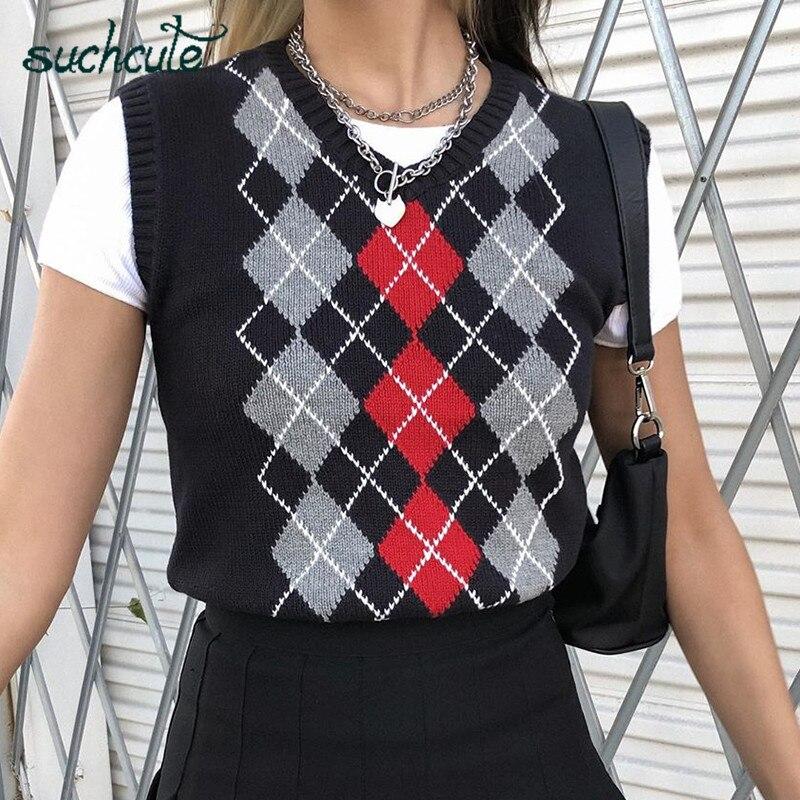 Suchcute e-girl argyle camisola colete feminino decote em v sleevelss coletes de malha coreano estilo preppy 2020 xadrez macio colheita superior feminino