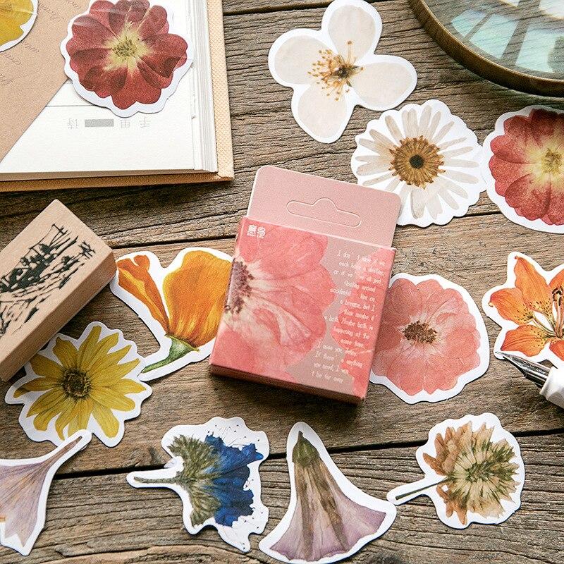45-pz-scatola-vintage-fiore-kawaii-carta-cancelleria-adesivo-fiocchi-fai-da-te-etichetta-decorativa-per-scrapbooking