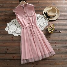 Women belt waist sleeveless lace blue dresses women summer dress 2020 new casual cotton mesh pink elegant vestidos clothes