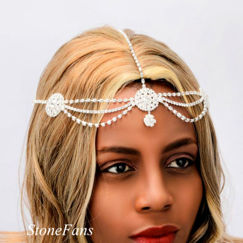 Stonefans redondo acessórios de cabelo nupcial headpiece cristal strass corrente flapper boné festa casamento testa corrente jóias