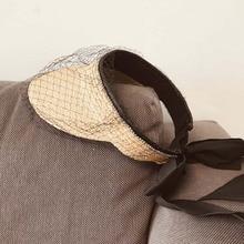 2020 New Fashion Women Ultrabraid Foldable Summer Sun Visor Hat Fancy Veil Netting Straw Beach Hat Ladies Ponytail Raffia Hat