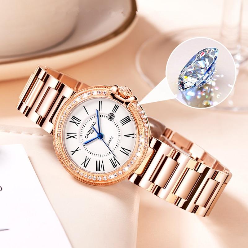 CARNIVAL Brand Women Fashion Watches Ladies Luxury Waterproof Rose Gold Silver Calendar Quartz Wristwatch Clock Relogio Feminino enlarge