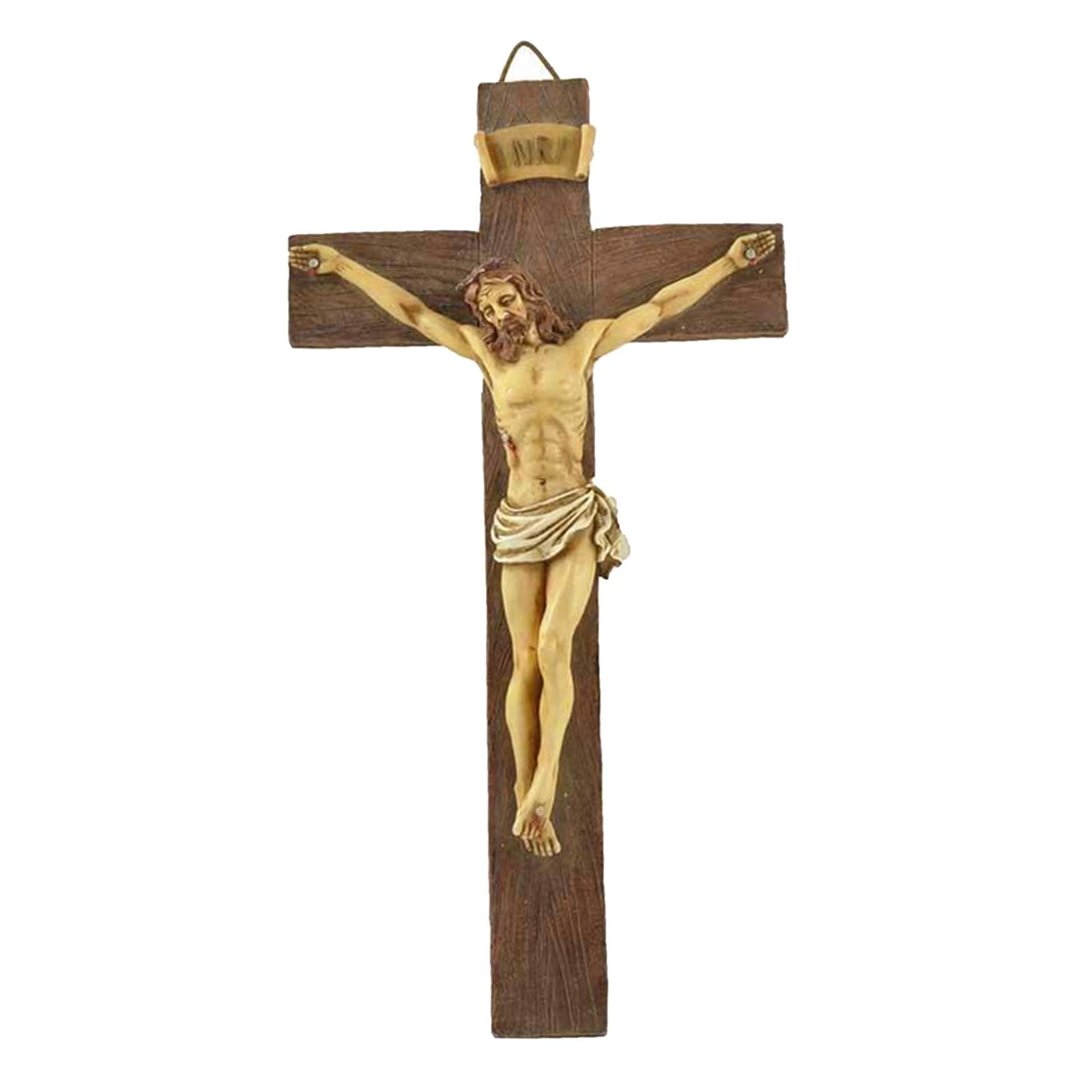 Деревянный крест Иисуса Христа, статуя страдания, религиозная молитва, распятие, подвесной кулон, украшение для церкви
